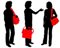 People with bags. Silhouettes of people with bags Stock Images