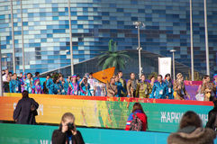 People with balalaika at XXII Winter Olympic Games Royalty Free Stock Images
