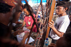 People during Balinese cockfighting Royalty Free Stock Images