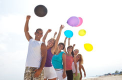 People with balloons in nature Royalty Free Stock Photo