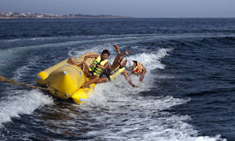 PEOPLE ON A BANANA BOAT Royalty Free Stock Photo