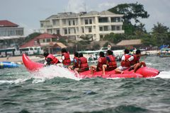 People on a banana boat at the tanjung benoa Royalty Free Stock Image