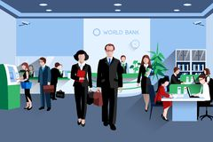 People In Bank. Customers and staff people in bank interior flat vector illustration vector illustration