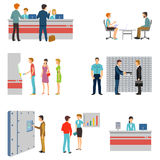People in a bank interior flat vector icons set. Banking business concept. Queue and counter, atm and keeping money illustration Stock Photo