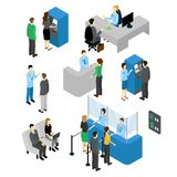 People In Bank Isometric Set. With employees and clients atm machine and currency exchange isolated vector illustration Stock Images