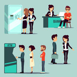 People in the bank, vector banking service, business concept. Worker bank on reception, queue waiting to bank atm illustration Royalty Free Stock Image