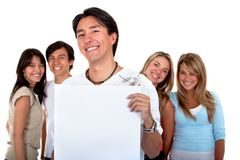 People with a banner Stock Image