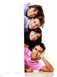 People with a banner Royalty Free Stock Image