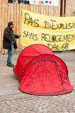 People with banner during the demonstration against misery and poverty - no eviction without rehousing Stock Photography