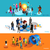 People Banners Set Royalty Free Stock Photos