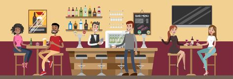 People at bar. vector illustration
