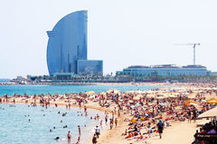 People at Barceloneta Beach in summer Royalty Free Stock Image