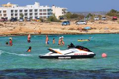 People bathe in the Mediterranean. Ayia Napa. Cyprus. Stock Images