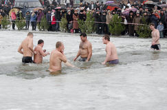 People bathe in the river in winter . Christian religious festival Epiphany Royalty Free Stock Photography
