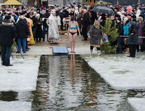 People bathe in the river in winter . Christian religious festival Epiphany Royalty Free Stock Photos