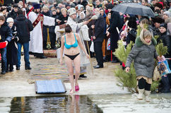 People bathe in the river in winter . Christian religious festival Epiphany.  Stock Photography
