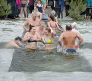 People bathe in the river in winter . Christian religious festival Epiphany Stock Image