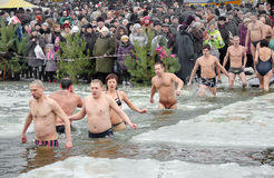 People bathe in the river in winter . Christian religious festival Epiphany Royalty Free Stock Photo