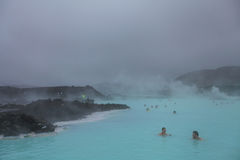 People bathing in Blue Lagoon in Iceland Stock Image