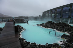 People bathing in Blue Lagoon in Iceland stock photo