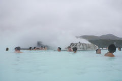People bathing in Blue Lagoon in Iceland Royalty Free Stock Photography