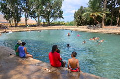 People bathing in the historic Ein Moda Spring pool Royalty Free Stock Photography