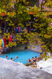 People bathing in Loutra Pozar medicinal springs Royalty Free Stock Photography