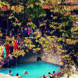 People bathing in Loutra Pozar medicinal springs Royalty Free Stock Images