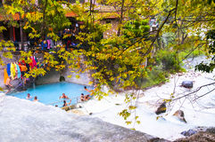 People bathing in Loutra Pozar medicinal springs Royalty Free Stock Photo