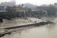 People bathing in river Hooghly in Kolkata stock photo
