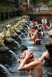 People bathing at Sacred Fountains of Tirta Empul Royalty Free Stock Images