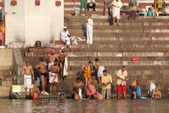 People bathing in Varanasi, India (Ganges River) Stock Photos