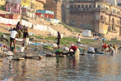 People bathing in Varanasi, India (Ganges River) Stock Photos