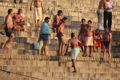 People bathing in Varanasi, India (Ganges River) Royalty Free Stock Photography