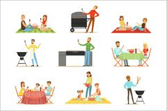 People On BBQ Picnic Outdoors Eating And Cooking Grilled Meat On Electric Barbecue Grill Collection Of Scenes royalty free illustration