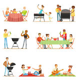 People On BBQ Picnic Outdoors Eating And Cooking Grilled Meat On Electric Barbecue Grill Set Of Scenes. Families And Friends Eating Together In The Park In The Royalty Free Stock Photography