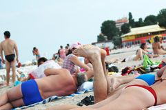 People on beach. Relaxing people on beach Royalty Free Stock Photos