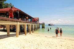 People on Beach. With clear blue sky at Payar Island, Malaysia Royalty Free Stock Image