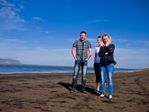 People on the beach. People standing on Icelandic beach Stock Photos