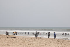 People on a beach in Accra, Ghana Royalty Free Stock Photo