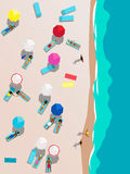 People on the beach aerial view Stock Image