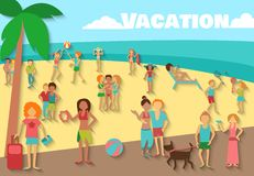 People On Beach Background Stock Images