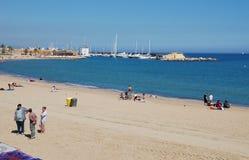 Barcelona beach in Catalonia stock image