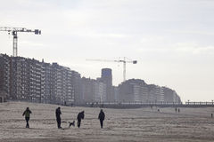 People on the beach, Belgium Royalty Free Stock Photos