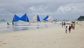 People on beach in Boracay island, Philippines Stock Images
