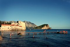 People on the beach, Budva. Many people on the beach in Budva, Montenegro Royalty Free Stock Photography