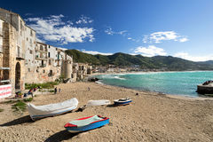 People at beach in Cefalu Stock Photo