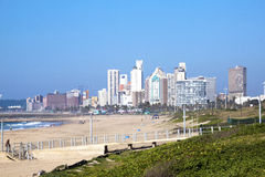 People on Beach With City Skyline Background Royalty Free Stock Image