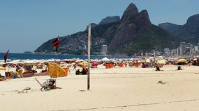 People at beach. A crowded beach in Rio, Brazil Stock Images