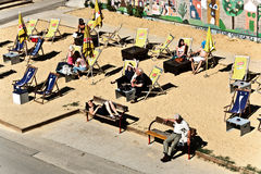 People at the beach of the Danuvia canal in Vienna Stock Photos
